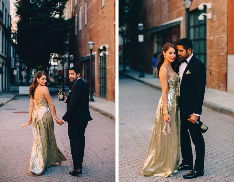 vestido dourado noivado