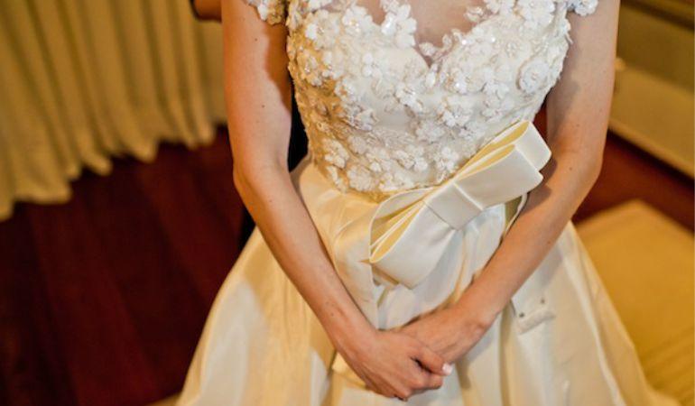 Aplicação de Flores Vestido de noiva