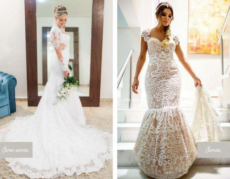 Vestido de noiva sereia e Semi sereia