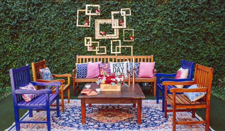 Decoração de mobiliario azul