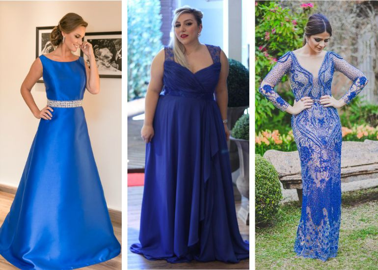 Vestido madrinha de casamento azul
