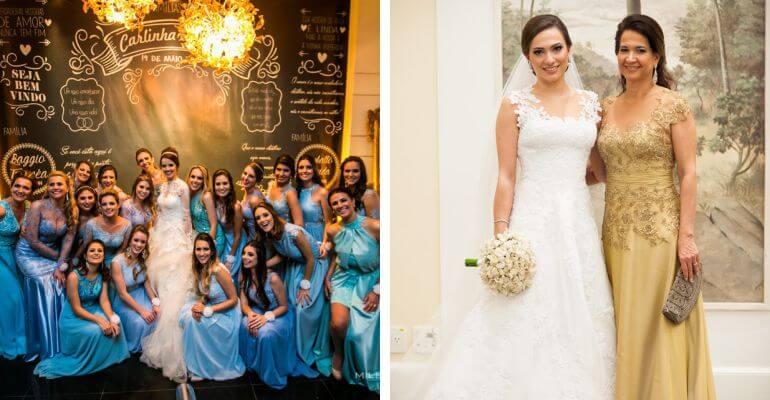 Madrinhas de azul e mãe da noiva de dourado