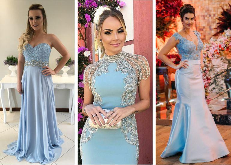 Vestido azul com acessorios prata