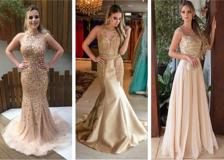 Vestido de Madrinha Dourado