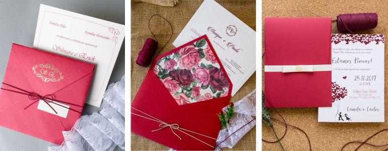 Convite envelope vermelho