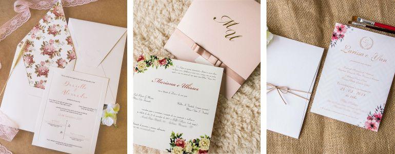 Convite Floral cor de Rosa
