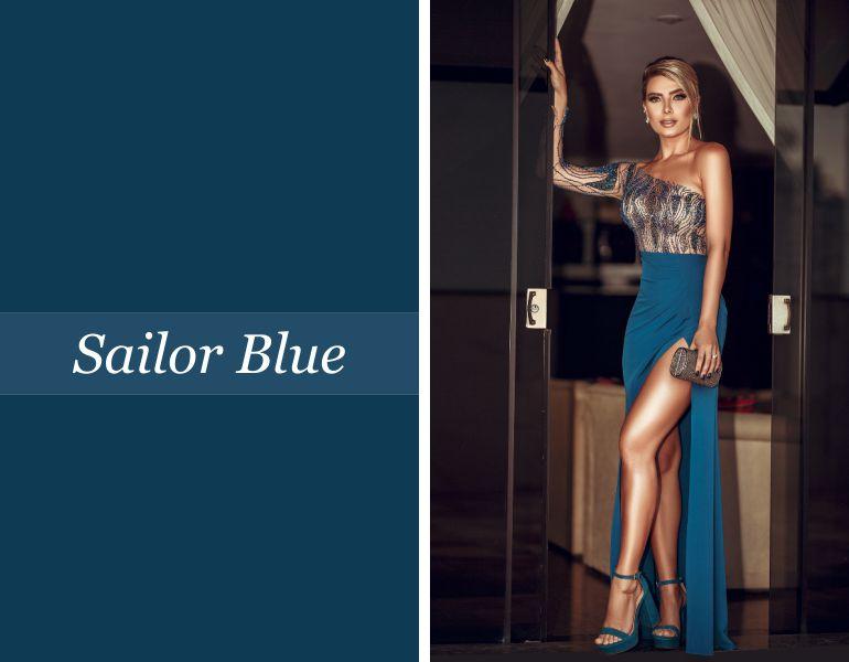 Tendências para vestidos de festa: Sailor Blue