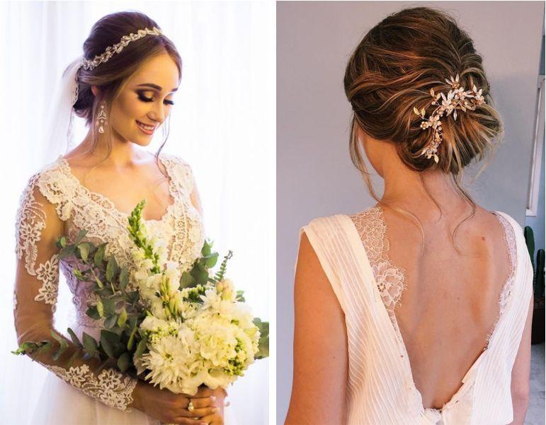 Estilos de Beleza da noiva: penteado coque baixo