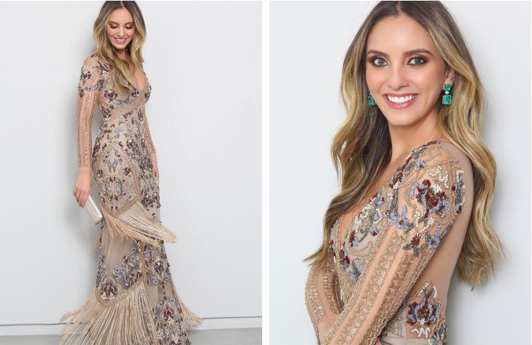 Vestido de madrinha com bordado floral