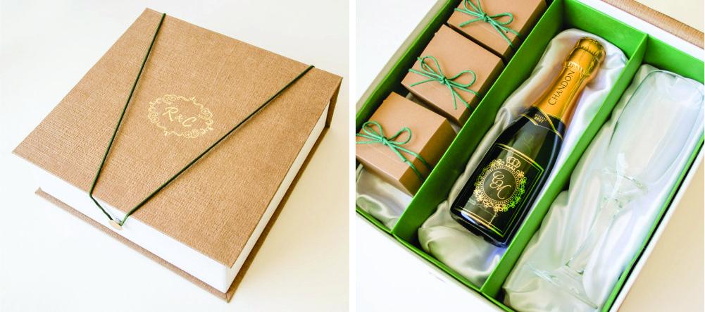 Caixa cartonada para padrinhos de casamento