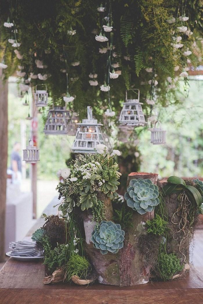 Suculenta na decoração de casamento