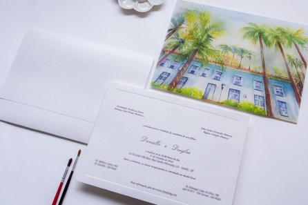 Convite com arte em aquarela