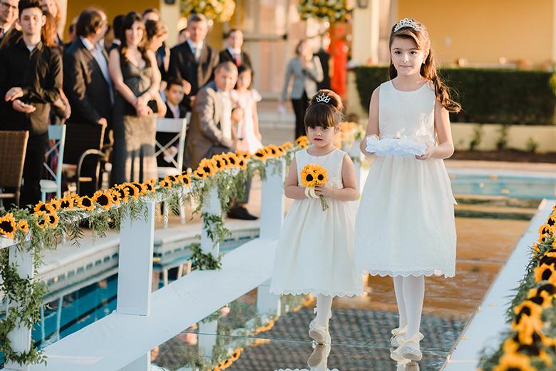 Decoração de casamento com girassol