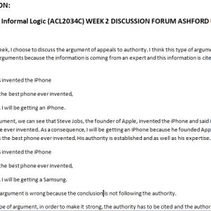 PHI103: Informal Logic (ACL2034C) WEEK 2 DISCUSSION FORUM ASHFORD UNI