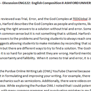 SOLUTION: Week 5 – Discussion ENG122: English Composition II ASHFORD UNIVERSITY