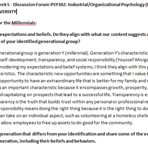 (SOLVED)Week 5 - Discussion Forum PSY302: Industrial/Organizational Psychology (PSH2045A) ASHFORD UNIVERSITY
