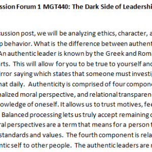 SOLUTION: Week 3 - Discussion Forum 1 MGT440: The Dark Side of Leadership (BIG2040A) ASHFORD UNIVERSITY