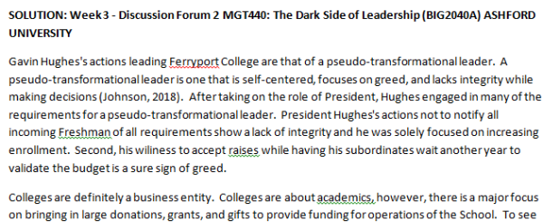 SOLUTION: Week 3 - Discussion Forum 2 MGT440: The Dark Side of Leadership (BIG2040A) ASHFORD UNIVERSITY