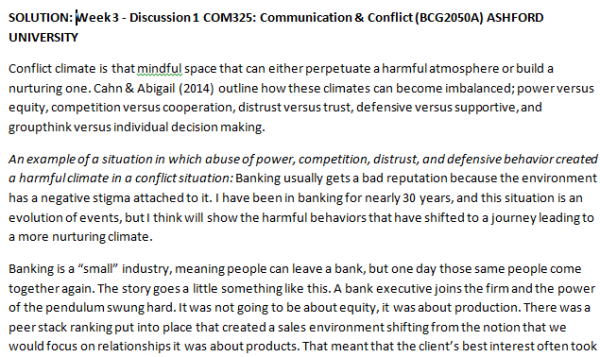 SOLUTION: Week 3 - Discussion 1 COM325: Communication & Conflict (BCG2050A) ASHFORD UNIVERSITY