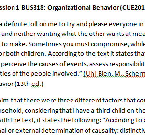 Week 1 - Discussion 1 BUS318: Organizational Behavior (CUE2012B) ASHFORD UNIVERSITY