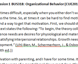 Week 2 - Discussion 1 BUS318: Organizational Behavior (CUE2012B) ASHFORD UNIVERSITY
