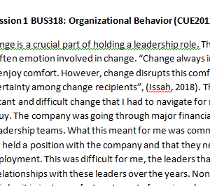 Week 4 - Discussion 1 BUS318: Organizational Behavior (CUE2012B) ASHFORD UNIVERSITY