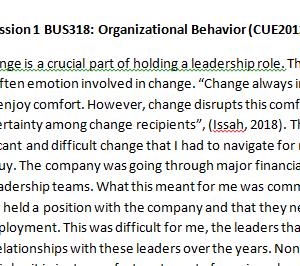 Week 4 - Discussion 1 BUS318: Organizational Behavior (CUE2012B) ASHFORD UNIVERSITY