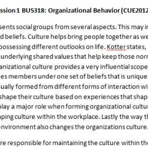 Week 5 - Discussion 1 BUS318: Organizational Behavior (CUE2012B) ASHFORD UNIVERSITY