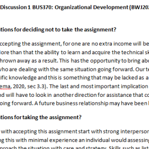 Week 2 - Discussion 1 BUS370: Organizational Development (BWJ2028A) ASHFORD UNIVERSITY