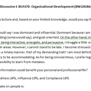 Week 4 - Discussion 1 BUS370: Organizational Development (BWJ2028A) ASHFORD UNIVERSITY
