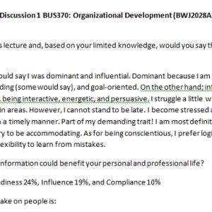 Week 4 - Discussion 1 BUS370: Organizational Development (BWJ2028A) ASHFORD UNIVERSITY