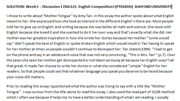 Week 5 – Discussion 1 ENG121: English Composition I (PTD1839J) ASHFORD UNIVERSITY