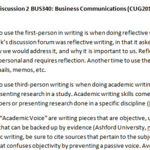 Week 2 - Discussion 2 BUS340: Business Communications (CUG2018B) ASHFORD UNIVERSITY