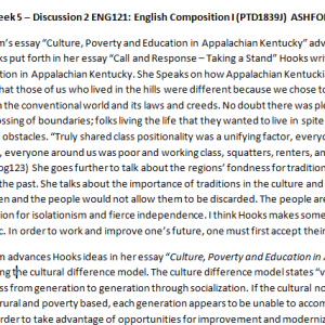 Week 5 – Discussion 2 ENG121: English Composition I (PTD1839J) ASHFORD UNIVERSITY