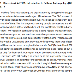 SOLUTION: Week 1 - Discussion 2 ANT101: Introduction to Cultural Anthropology (GSF1946A) ASHFORD UNIVERSITY