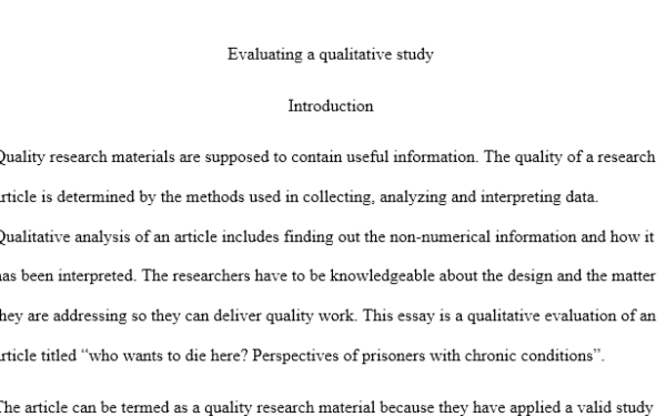 evaluating a qualitative study