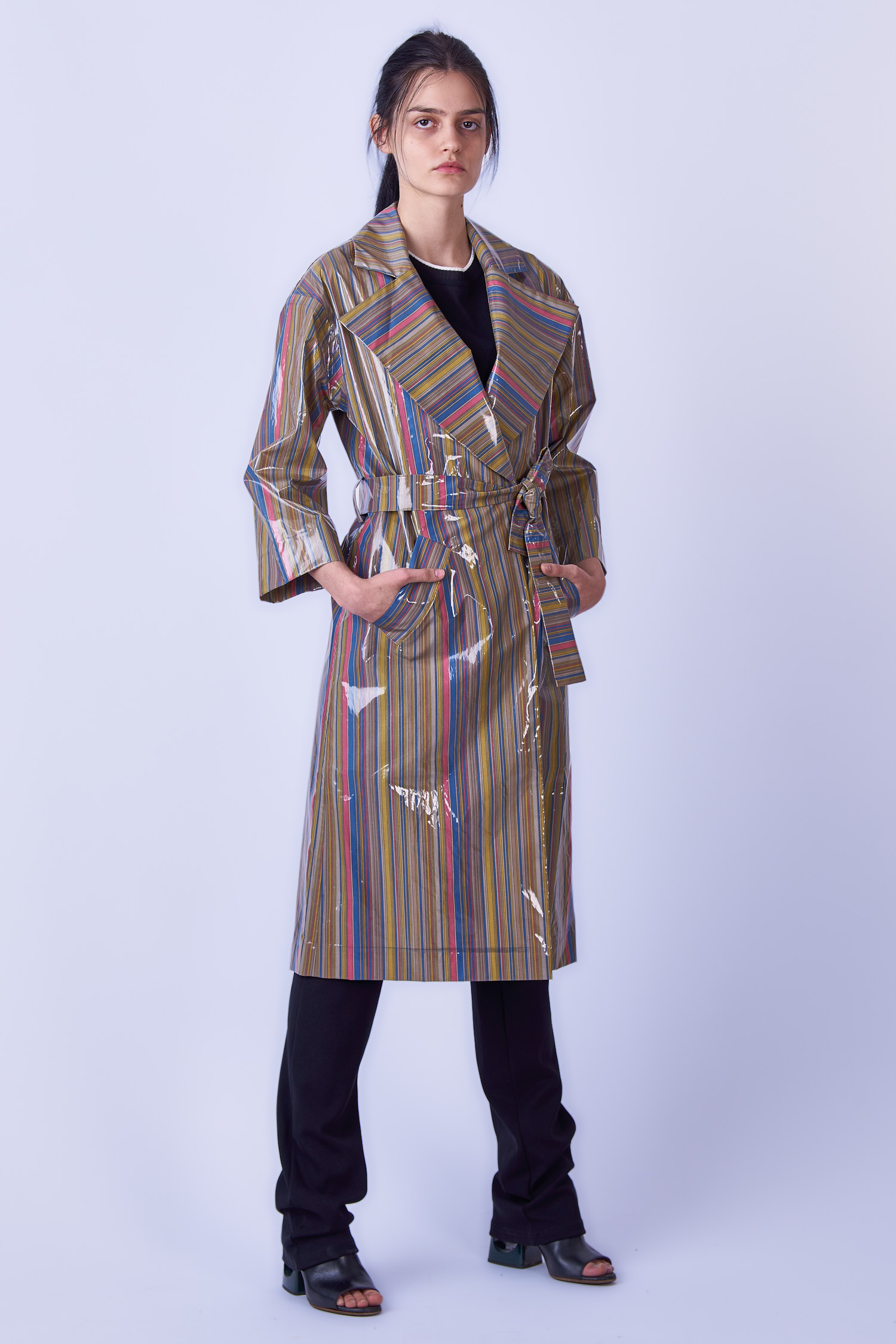Acephala Ss19 Slavic Goddesses Striped Trench Front Side