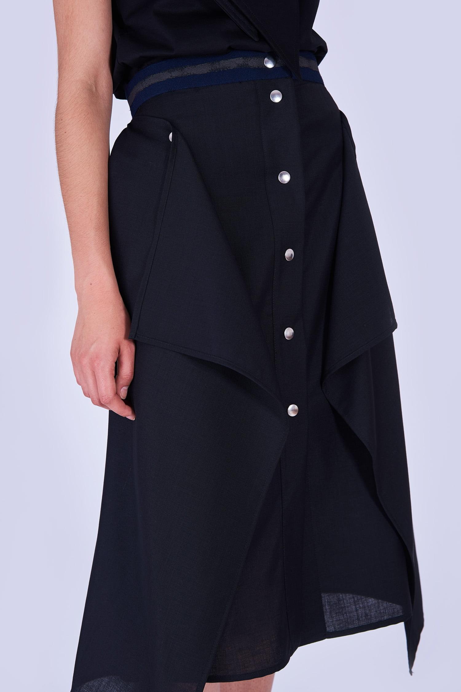 Acephala Fw19 20 Black Skirt Draped Czarna Spodnica Drapowana Detail 2