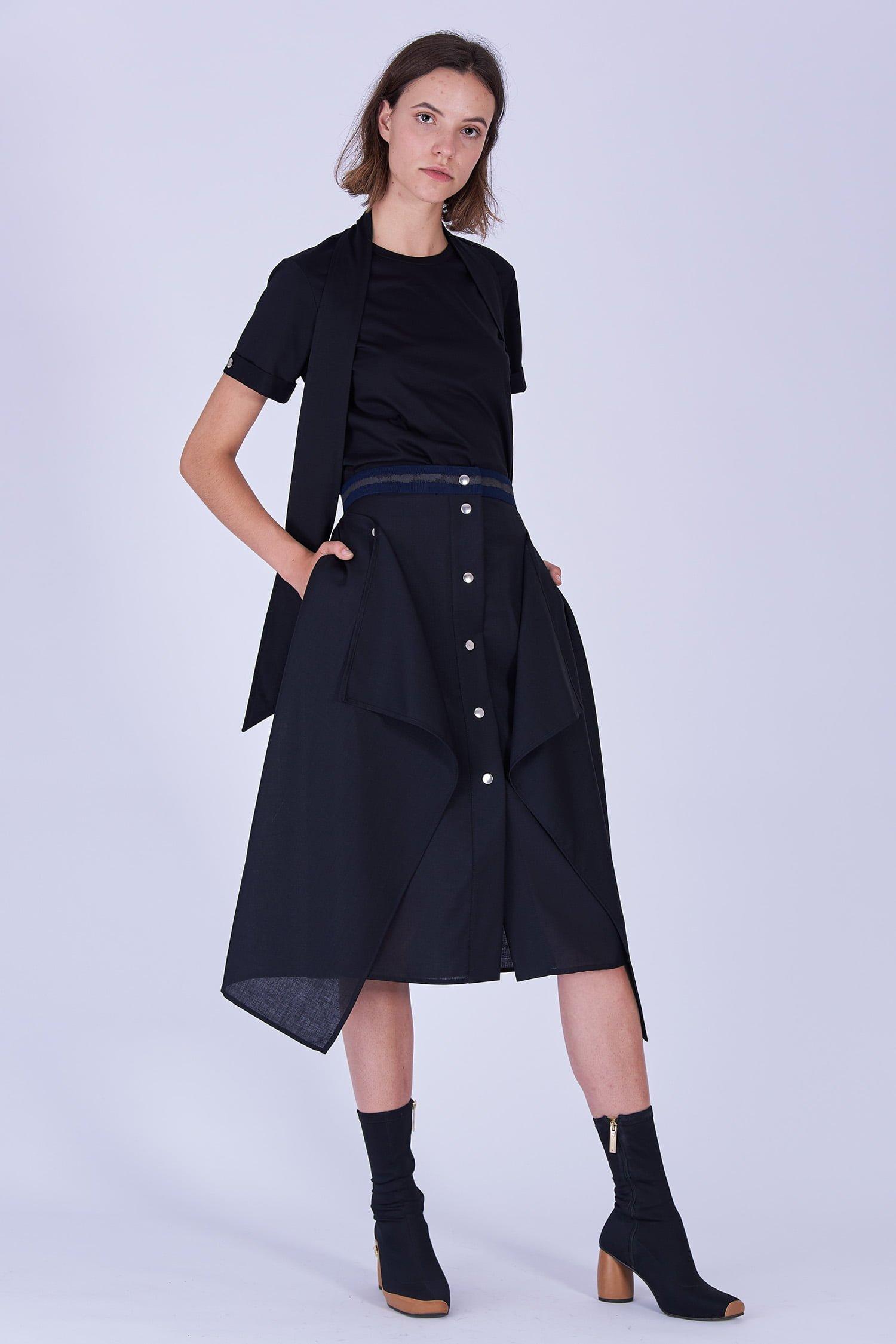 Acephala Fw19 20 Black Skirt Draped Czarna Spodnica Drapowana Side 2