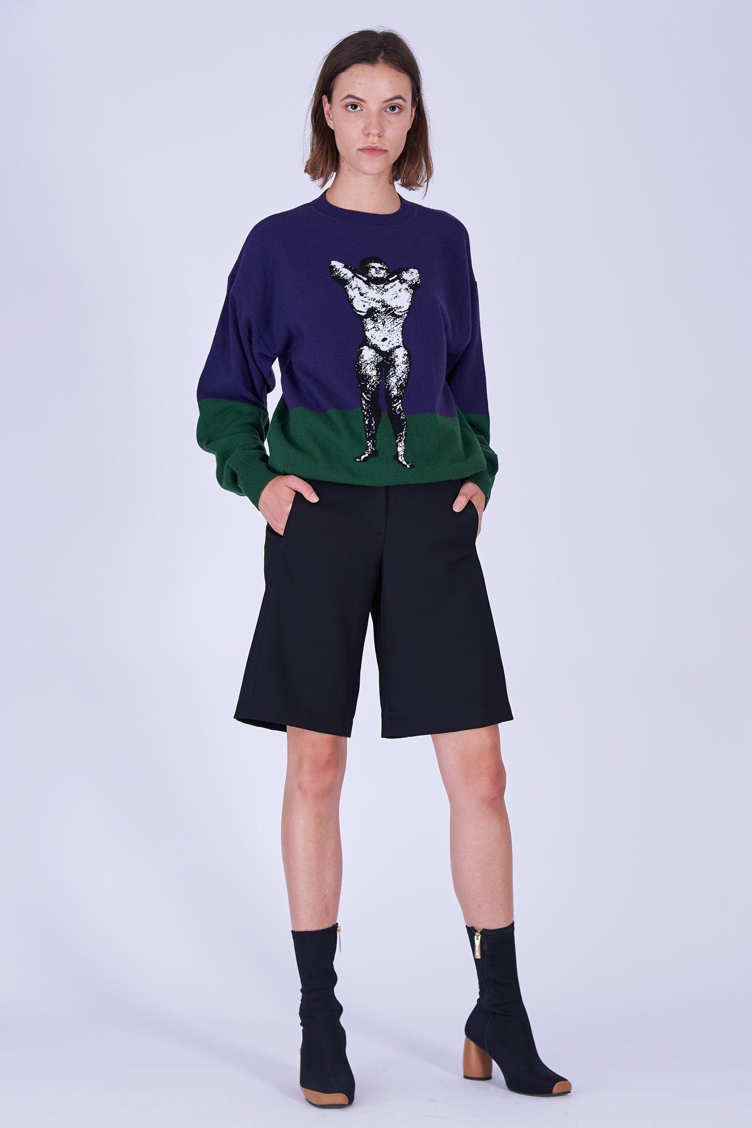Acephala Fw19 20 Purple Green Bodybuilder Jumper Black Shorts Fioletowo Zielony Sweter Czarne Szorty Front 1
