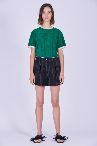 Acephala Ps2020 Black Striped Shorts Green T Shirt Zielony Czarne Szorty Paski Front