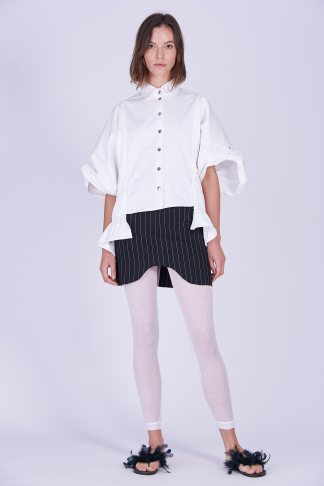 Acephala Ps2020 Black Striped Skirt White Exuberant Gathered Czarna Spodnica Biala Koszula Marszczona Front 2