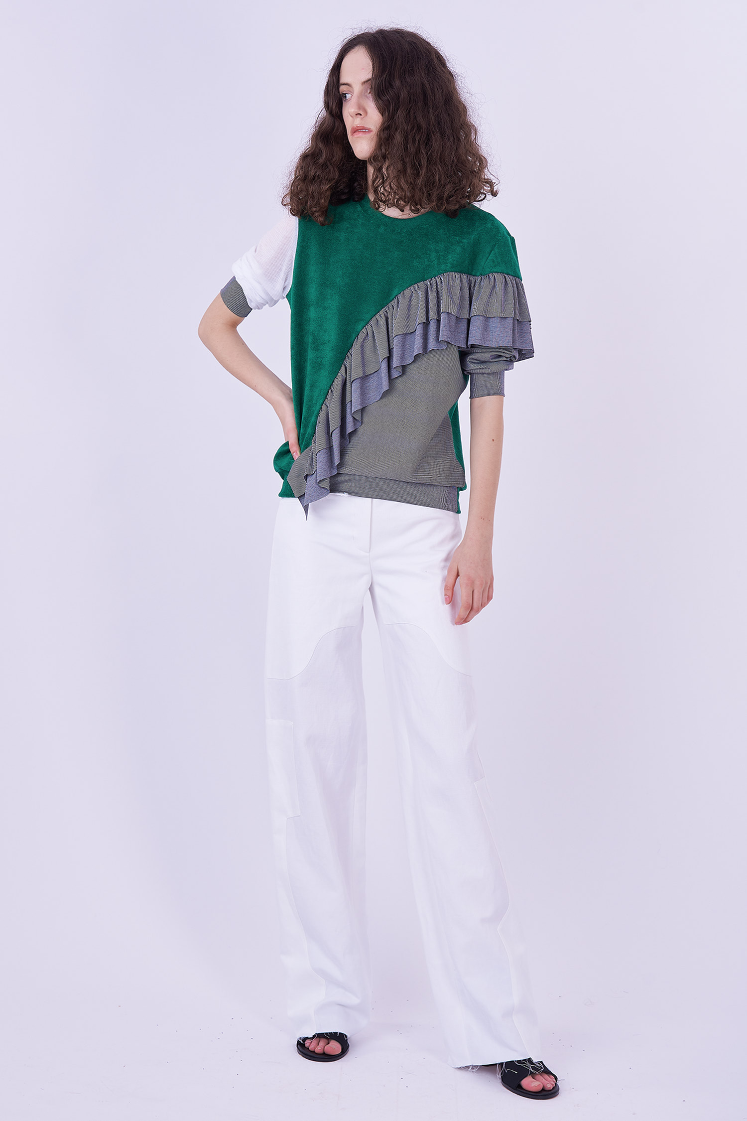 Acephala Ps2020 Green Grey Flounce Patchwork Blouse Bluzka Falbana White Trousers Biale Spodnie Side