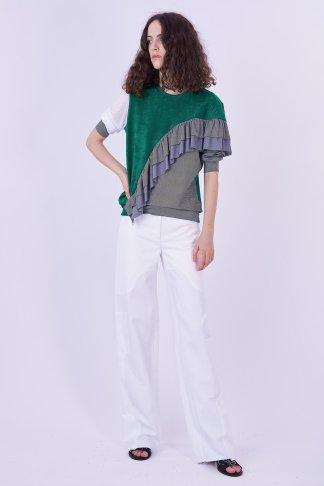 Acephala Ps2020 Green Grey Flounce Patchwork Blouse Bluzka Falbana White Trousers Biale Spodnie Side