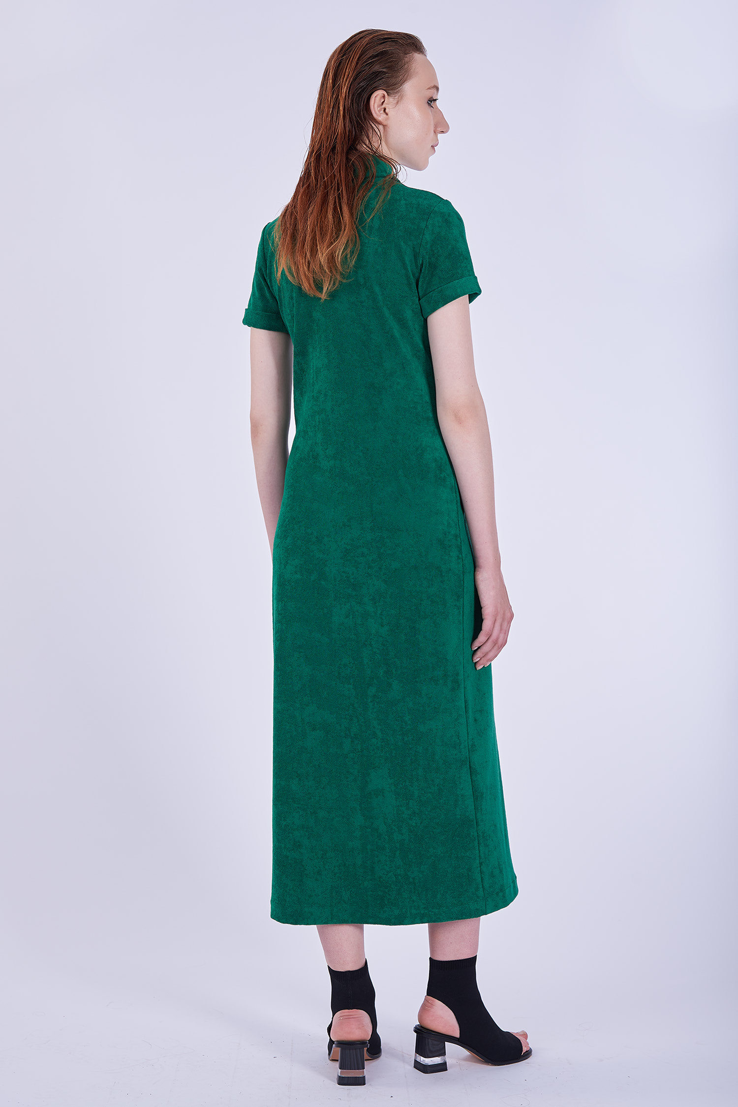 Acephala Ps2020 Green Long Terry Cotton Dress Sukienka Zielona Frotte Dluga Back 2