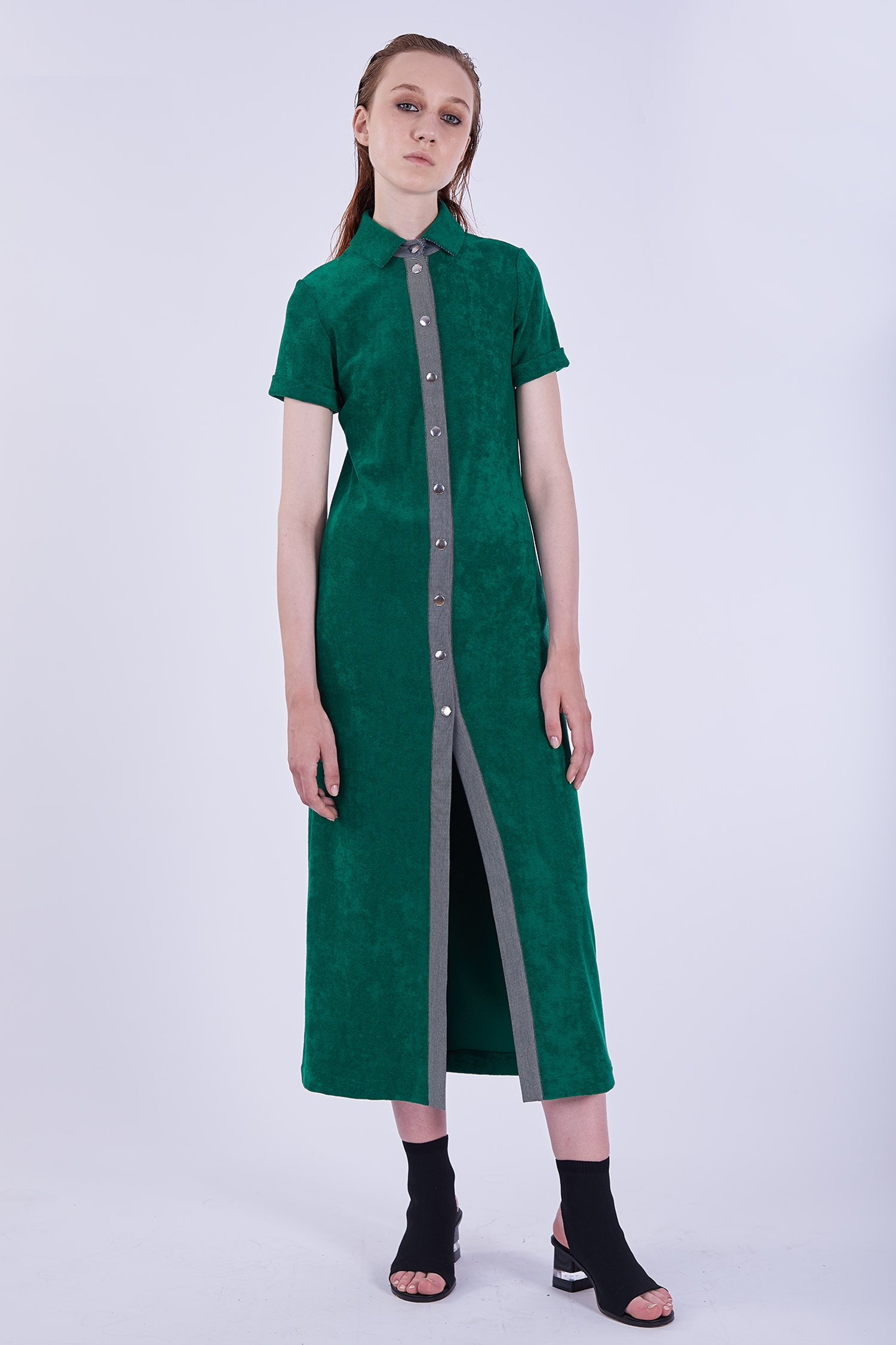Acephala Ps2020 Green Long Terry Cotton Dress Sukienka Zielona Frotte Dluga Front
