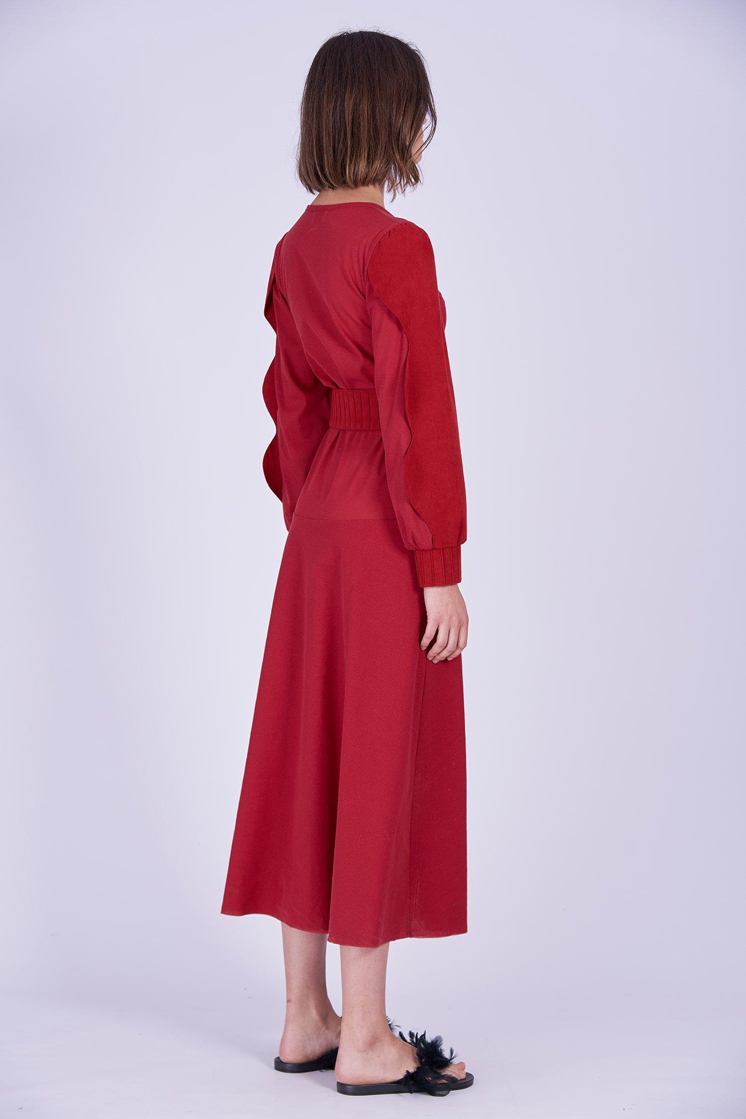 Acephala Ps2020 Red Maxi Evening Dress Czerwona Suknia Wieczorowa Back Side
