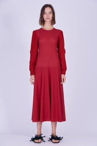 Acephala Ps2020 Red Maxi Evening Dress Czerwona Suknia Wieczorowa Front