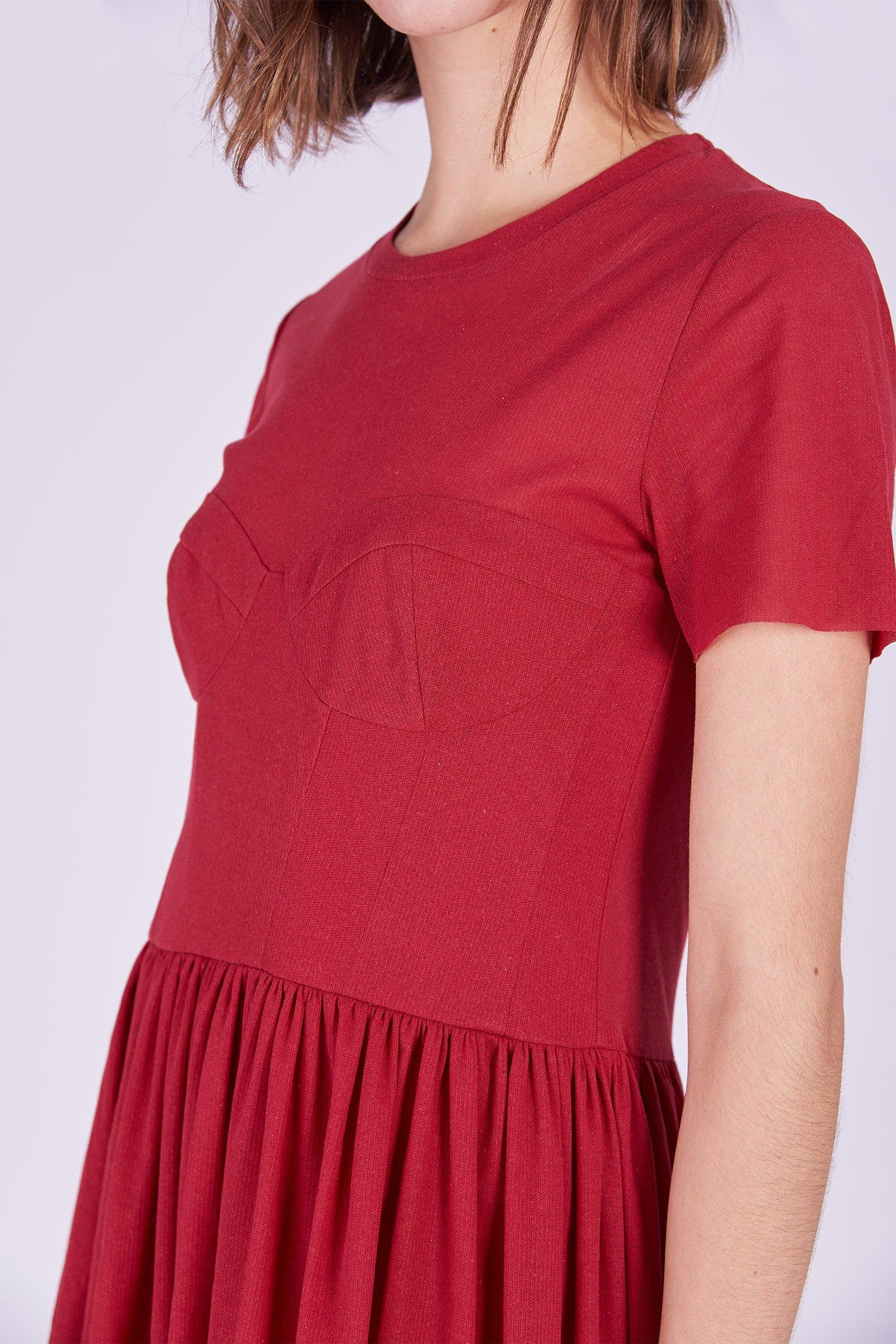 Acephala Ps2020 Red Midi Date Dress Czerwona Sukienka Wieczorowa Randka Detail 1