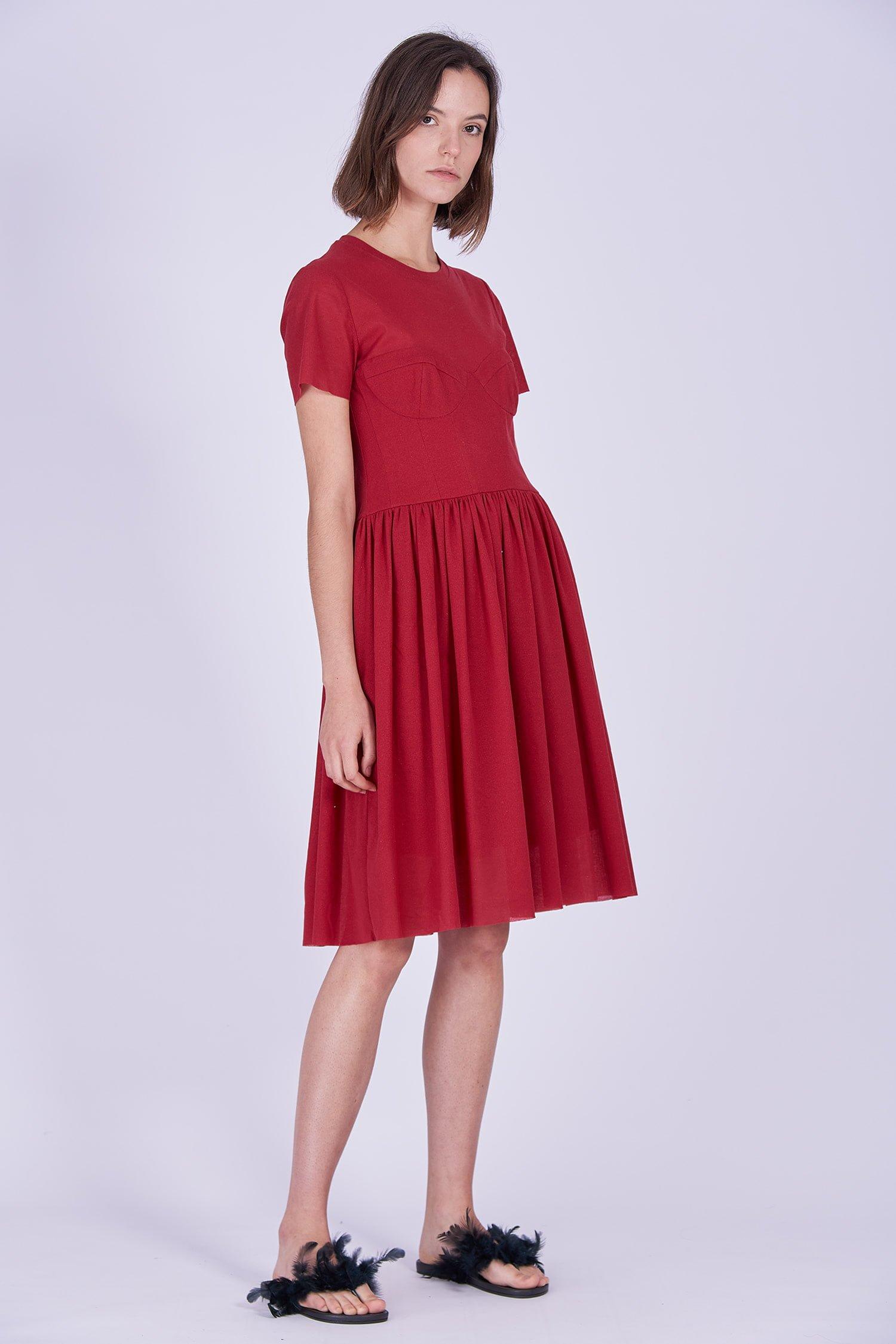 Acephala Ps2020 Red Midi Date Dress Czerwona Sukienka Wieczorowa Randka Front Side